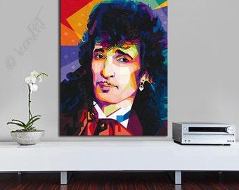 Tribute to Willy de Ville 80cmx120cm FRAMED ART, personalized gift, pop art, Large, Wall Art, gift for women,gift for men