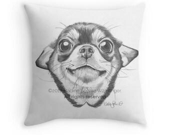 Chihuahua Lover Pillow   chiahuahua art chihuahua gift chihuahua lover dog lover gift chihuahua dog lover art dog pillow