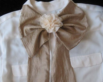 Large Bow Scarf with Cream Flower