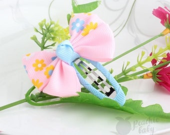Pair of Ribbon Bow Hair Snap Clips, Pink & Blue with Spring Flowers