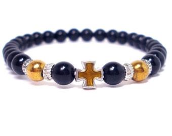 Onyx and Hematite Mens Bracelet, Men Bracelet, Cross Bracelet,Mens Gift, Mens Bracelet, Men Gemstone Bracelet,Gift for Him,Beaded Bracelet