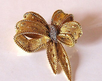 vintage brooch french designer signed Carven 1960  ribbon butterfly shape brooch