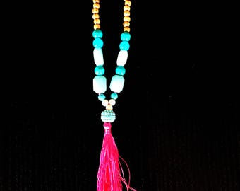 Green Aventurine and Turquoise Tassel Necklace