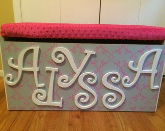 Painted Wooden Toy Box with Padded Seat