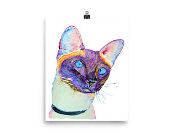 Siamese cat print, cubicle decor, first anniversary, portrait from photo, custom cat portrait, cat painting, gift for mom, siamese cat