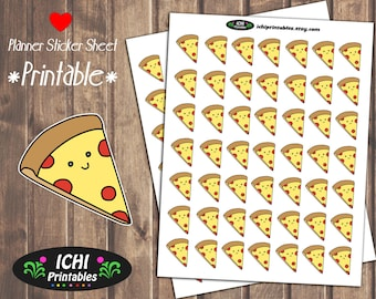 Pizza Printable Planner Stickers, Pizza Night Planner Stickers, Kawaii Pizza Delivery, Pizza Party, Meal Planner, Functional Stickers