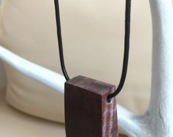 "Stabilized Dyed Purple Maple Burl Wood, Pendant Style Necklace, with 45cm (18"") Black Leather Cord"