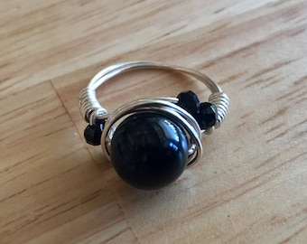 Black Onyx and Silver Plated Copper Wire Wrapped Ring