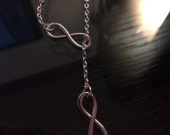 Silver Infinity Lariat Necklace, Infinity Pendant