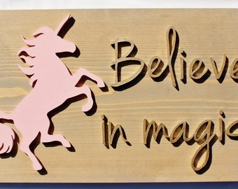 believe in magic, unicorn sign, kids room decor, nursery decor, playroom decor, unicorn, wood signs for kids, custom wood signs