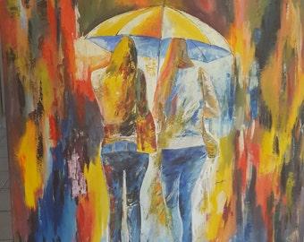 Walking in the Rain Oil Painting