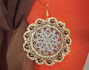 crochet earrings and Golden foil