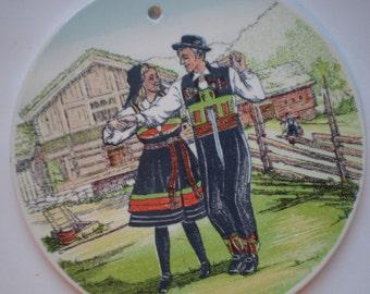 Stavangerflint;  Setesdal wandbord,  serie: 'Norske Bunader'