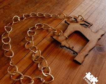 Wood Sewing Machine Necklace