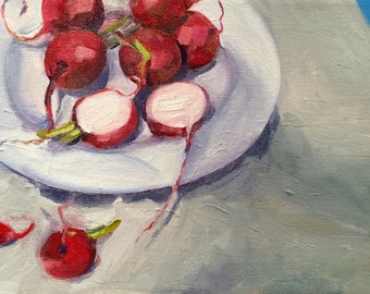 Radishes and white plate