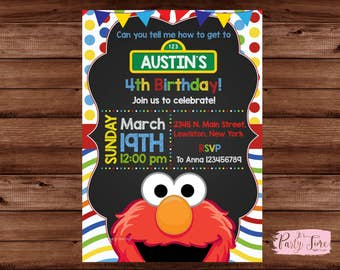 Elmo Invitation - Elmo Birthday Invitation - Sesame Street Invitation - Sesame Street Birthday Invitation - Sesame Street .
