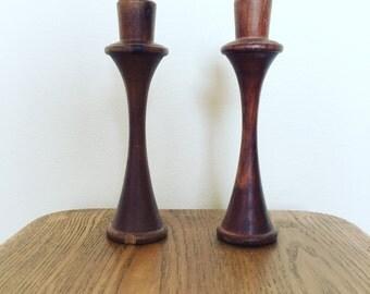 Pair of Retro Mid-Century Teak Candlesticks Candleholders
