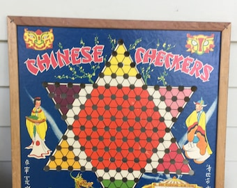 Vintage Retro 1930's Whitman Publishing Company CHINESE CHECKERS board with wood frame No. 5345