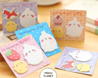 Kawaii Bunny Rabbit Molang Sticky Note Post It Memo Pad Sticker Pink Blue Yellow Green