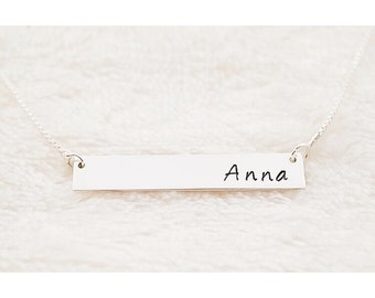 Personalized Name Bar Necklace .925 Sterling Silver