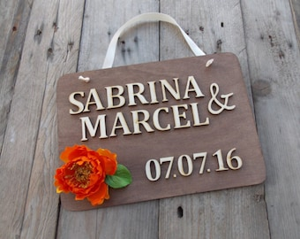Wedding sign with name and date - wedding  / flower