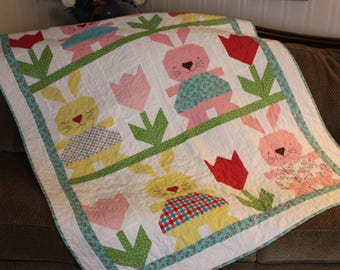 Bunny Quilt, Rabbit Quilt, child quilt, baby quilt, Red Brolly, Bronwyn Hayes, baby shower gift, Easter gift