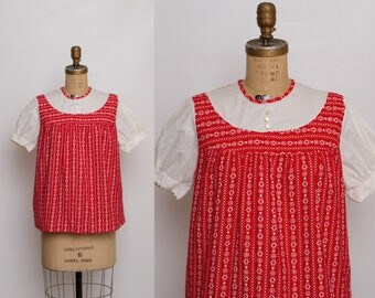 vintage 60s maternity blouse | red and white top