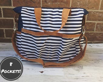 Nelly Diaper Bag | Nappy Bag | Carrying Tote | Pocket Bag | Striped Bag | Oversized Purse