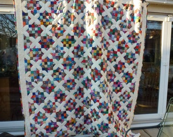 Large hand crafted quilt 101 inches by 87.5 inches