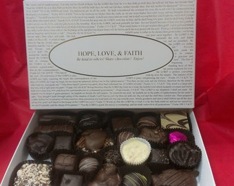 Chocolates with Hope, Love, & Faith Box Lid or pick from over forty other box lids! Gourmet Chocolates.