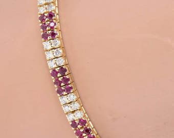 Estate 18K Yellow Gold 3.80 CTW Diamond And Ruby Square Link Bracelet - 24.3 Grams