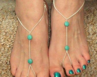 Stone Beach Sandal,Chain Beach Sandal,TurquoiseBeachSandal,Barefoot Wear,Turquoise Sandal,Beach Sandal,Beach Party Sandal,Beach Jewelry