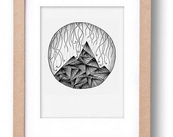 """MOUNTAIN"" illustration-hand made black and white illustration of a landscape"