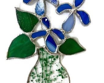 Stained glass iris in vase suncatcher