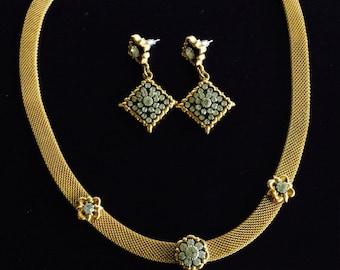 Avon Vintage jewelry set with faux diamonds,avon earrings, avon choker necklace, avon vintage jewelry