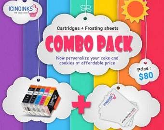 "Icinginks™ Combo- Prime Icing Sheets (8.5"" X 11"") 24 Sheets and Canon CLI-251/PGI-250 XL's Edible Cartridges (5 pack) High Yield"