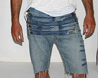 mens recycled denim shorts re lined re sown re worked