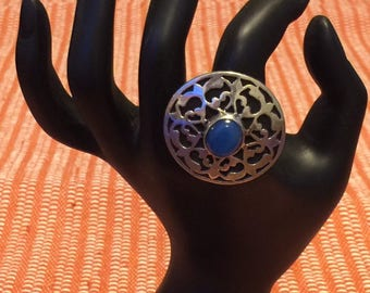 Sterling Silver Handmade Egyptian Ring with Blue Stone