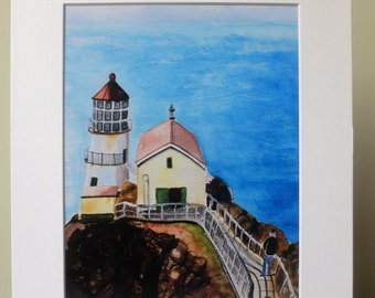 Lighthouse Watercolor Print, Print with Mat, Point Lopos Lighthouse, California, Lighthouse Watercolor Painting, Seascape,  Beach Home Decor