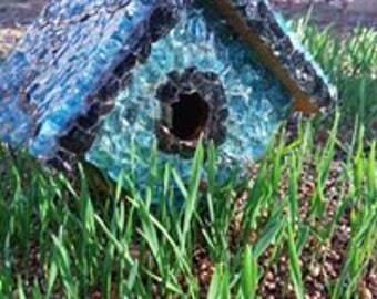 Teal and Black glass pieces on this birdhouse are so gorgeous. Unique and one of a kind!