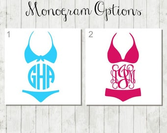 Bathing Suit Monogram - Beach Lover Monogram - Bikini Decal - Summertime Decal - Beach Bikini Decal - Gift for Swimmer - Vacation Swim Decal