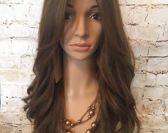 "Brand New Beautiful 100% Virgin Human Hair Wig Sheitel Light Brown Color #6/8/10 24"" Long"