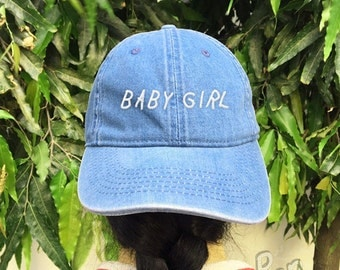 Baby Girl Embroidered Denim Baseball Cap Black Cotton Hat Unisex Size Cap Tumblr Pinterest