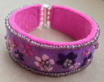 cuff Pink Purple silver lilac embroidered felt gift bracelet
