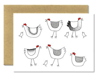 Spring Hens + Chicks Horizontal - A1 Card (Single or Set of 5)