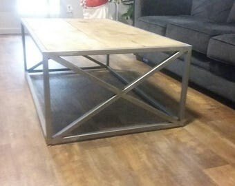 Reclaimed Wood and Steel Coffee Table