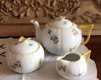 French china tea set. Porcelain tea set. Flower pattern. butterfly handle. Yellow tea set. spring summer pattern.