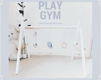 All White Wooden Baby Play Gym, Wooden Play Gym, Sensory Wooden Toy, Baby Toy