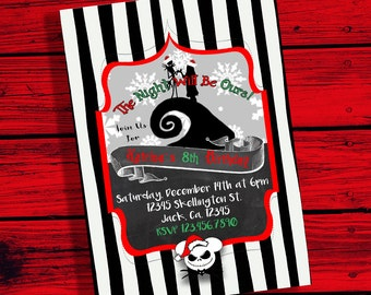 Jack and Sally Nightmare Before Christmas Silhouette Birthday Invitation digital file