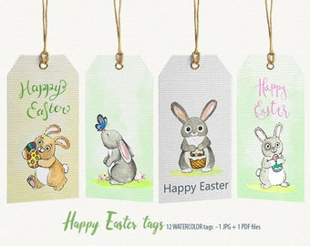 Digital art watercolor digital paint by digippp on etsy easter easter tag bunny eggs watercolor easter easter bunny gift tags negle Choice Image